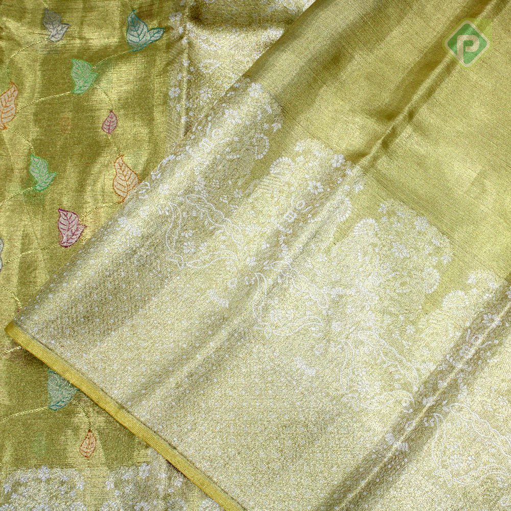 Golden Colour Bridal Tissue Saree