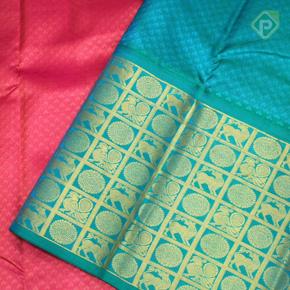Peach Pink With Sea Blue Colour Gift Silk Saree