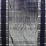 Navy Blue Colour Silver Silk Saree