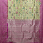 Cream Yellow With Hot Pink Colour Bridal Tissue Saree