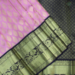 Peach Pink With Black Colour Bridal Silk saree