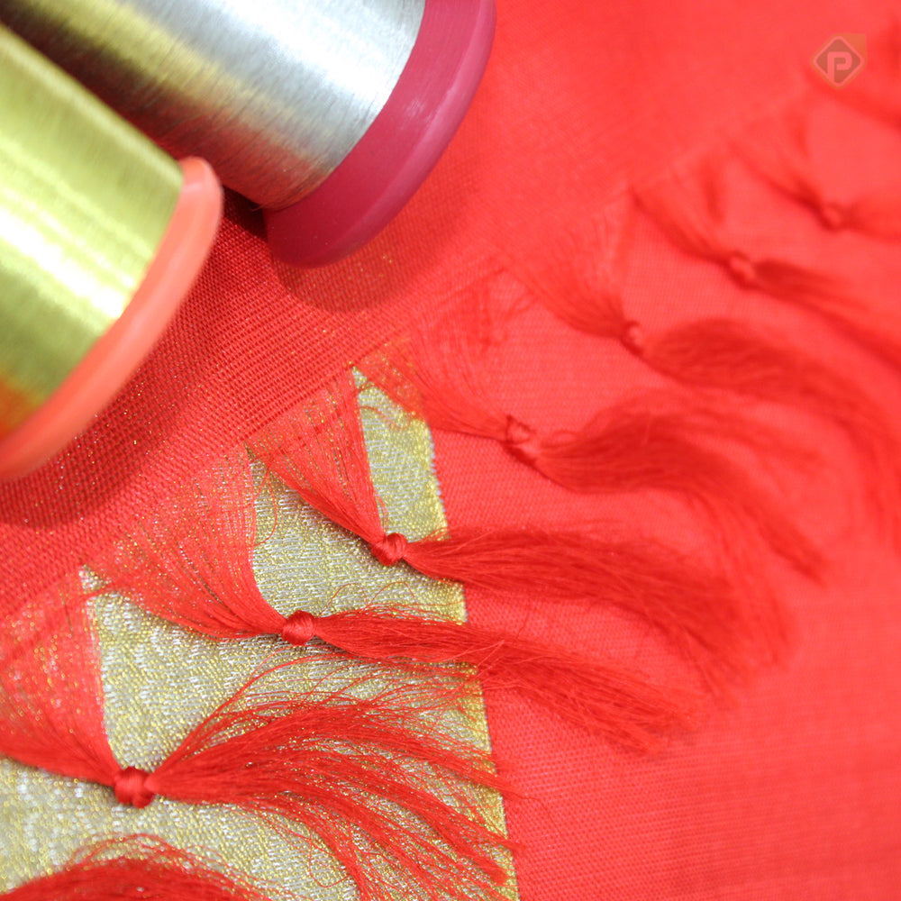 Candy Apple Red With Gold Colour Bridal Silk saree