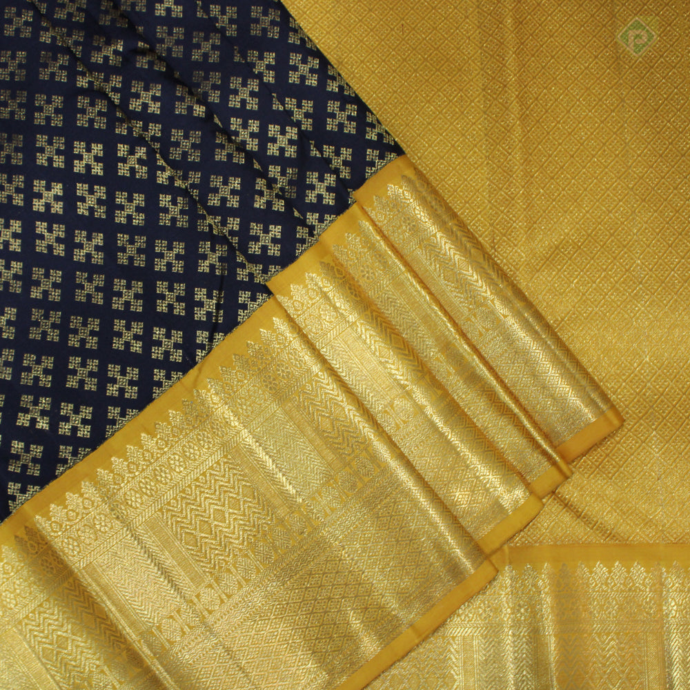 Black With Yellow Colour Bridal Silk saree