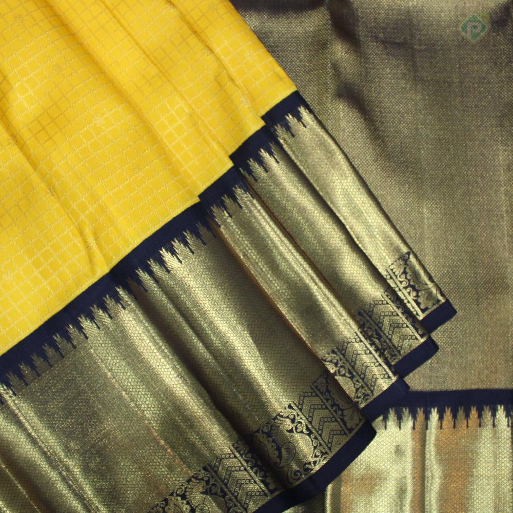 Yellow With Black Colour Bridal Silk saree