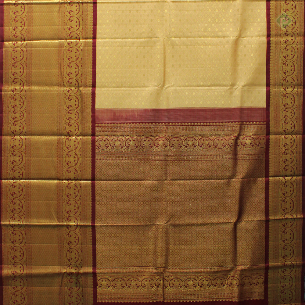 Peach Yellow With Sangria Red Colour Bridal Silk saree