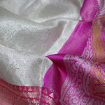 Silver White With Creamy Pink Colour Silver Bridal Silk saree