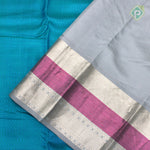 Olympic Blue With Steel Gray Colour Embossed Silk Saree