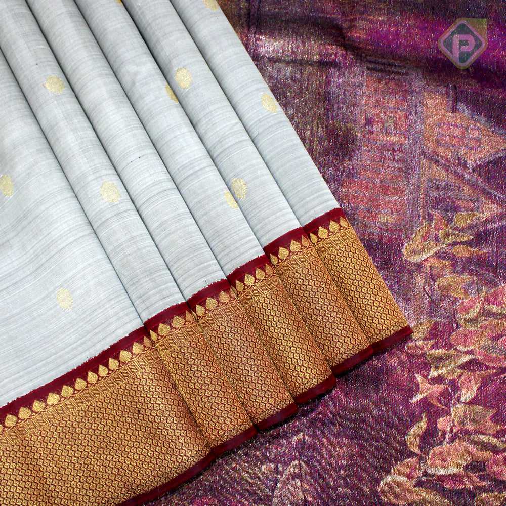 Gray With Maroon Red Colour Traditional Silk Saree