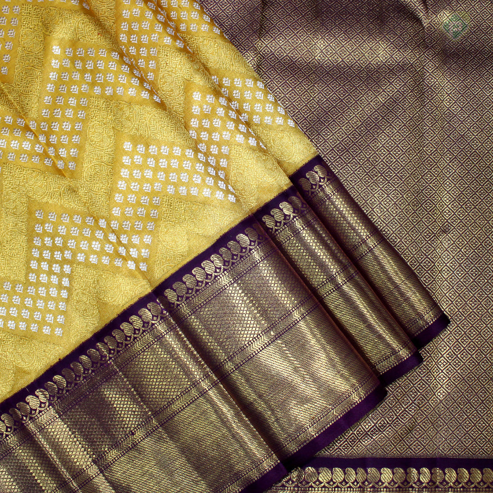 Mustered Gold Yellow With Byzantine Violet Colour Bridal Tissue Silk saree