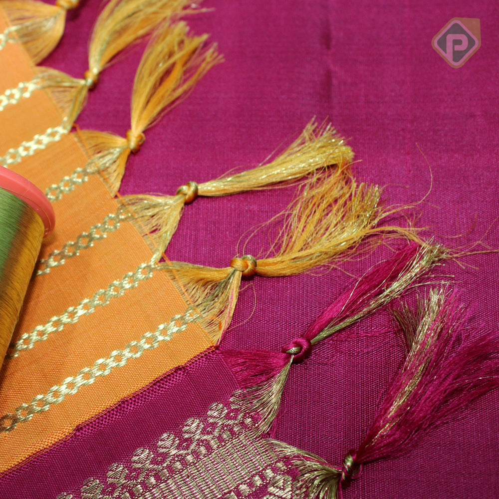 Pumpkin Orange With Maroon Red Colour Traditional Saree