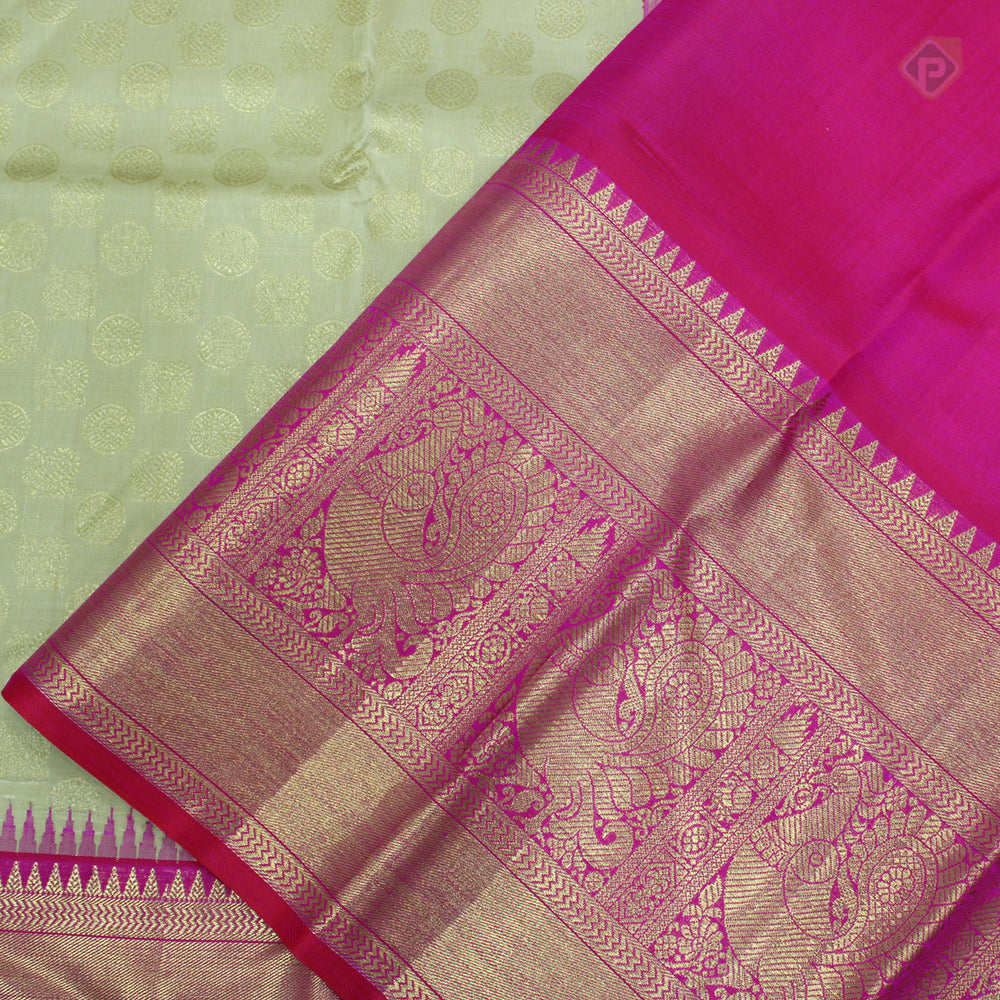 Cream Yellow With Hot Pink Colour Bridal Silk saree