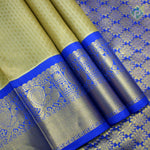 Cream Sandal With Royal Blue Colour Gift Pure Mix Silk Saree