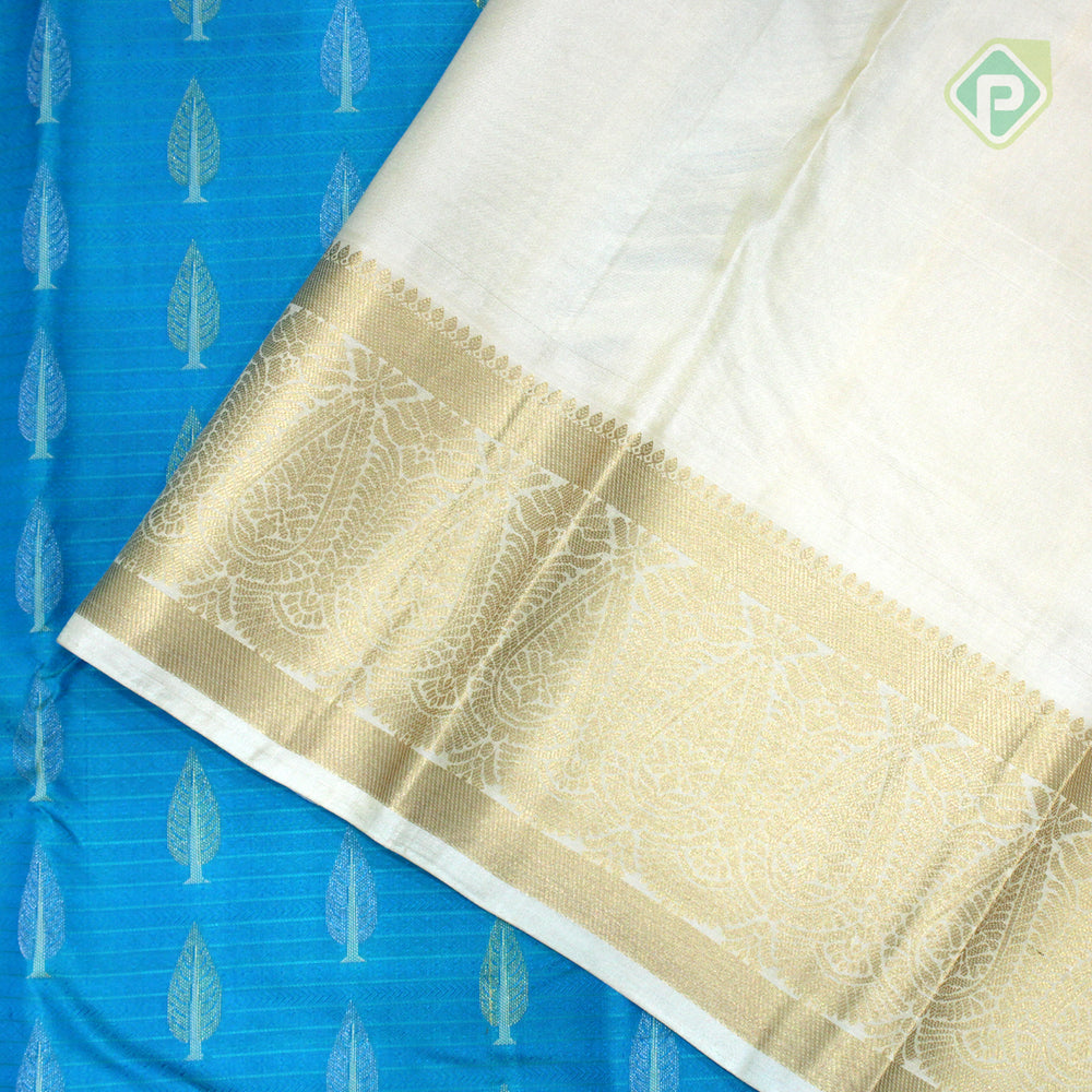 Sky Blue With Cream Sandal Colour Gift Silk Saree