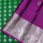 Bottle Green With Lollipop Violet Colour Silver Bridal Saree