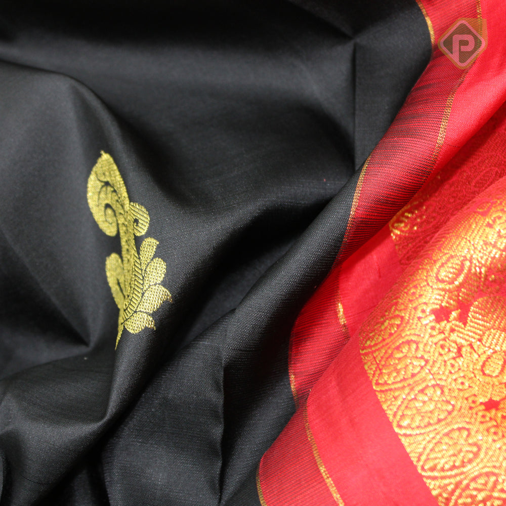 Dark Black With Red Colour Traditional Silk Saree