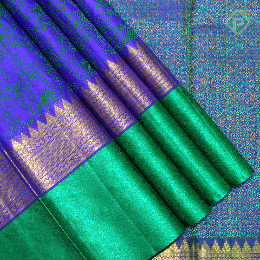Ink Blue With Emerald Green Colour Fancy Silk Saree