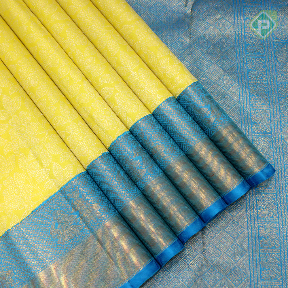 Lemon Yellow With Sky Blue Colour Bridal Saree