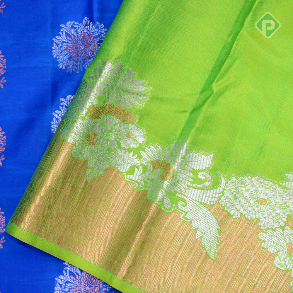 Royal Blue With Kelly Green Colour Gift Silk Saree