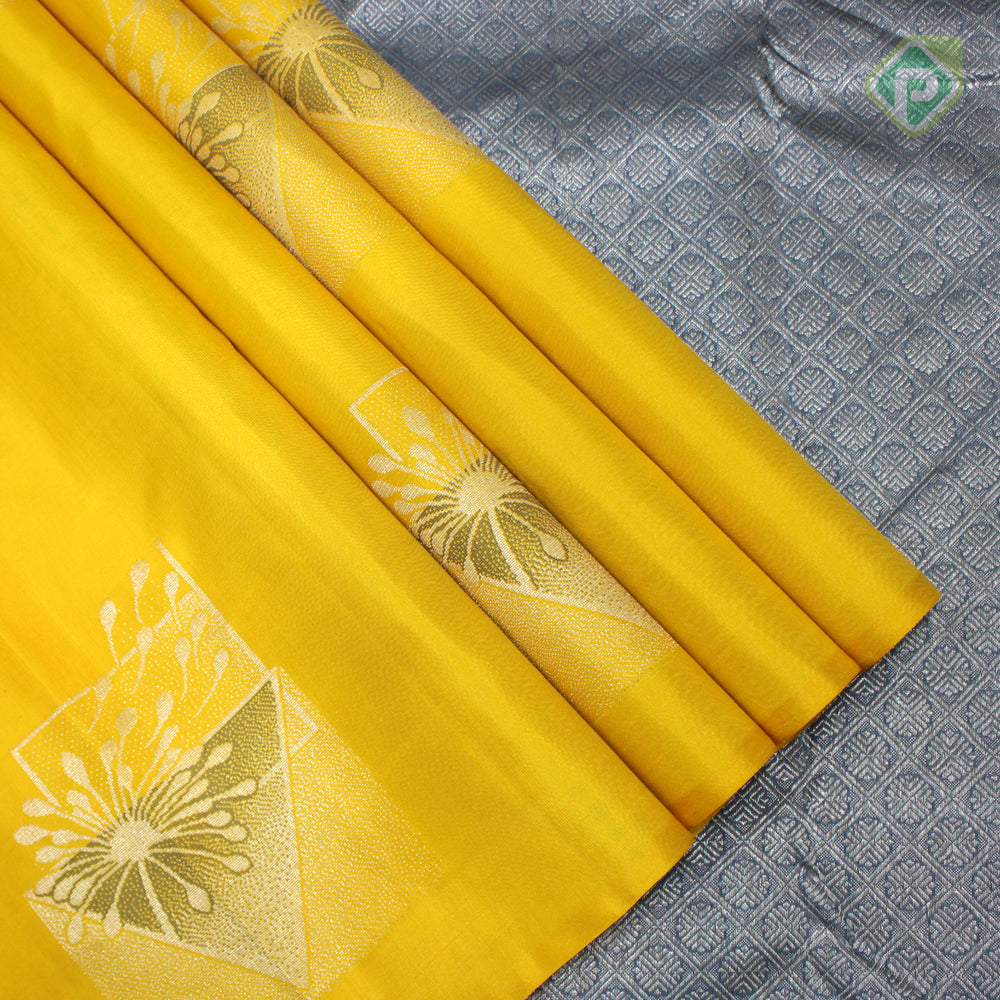 Yellow With Steel Gray Colour Fancy Silk Saree