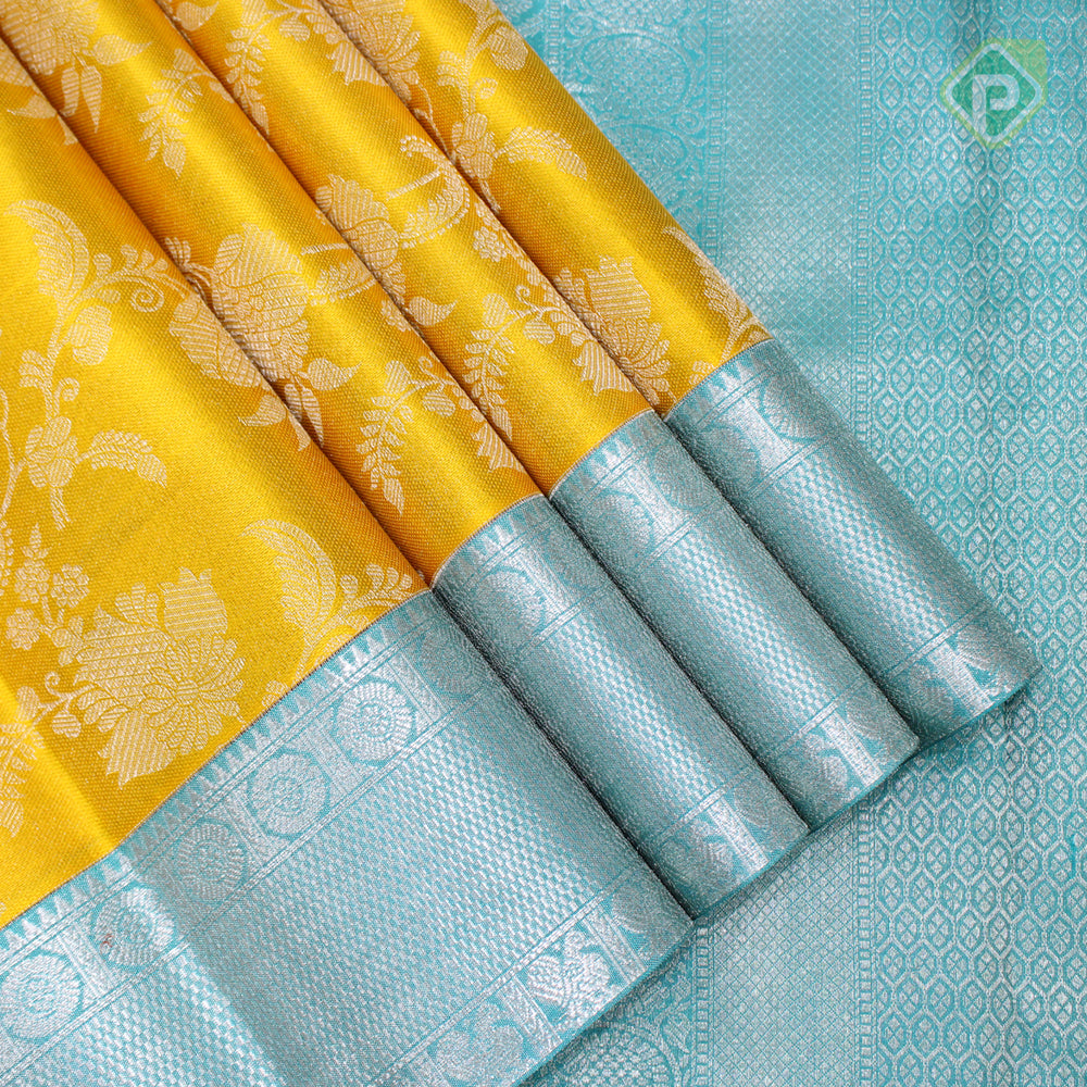 Yellow With Sky Blue Colour Fancy Silk Saree