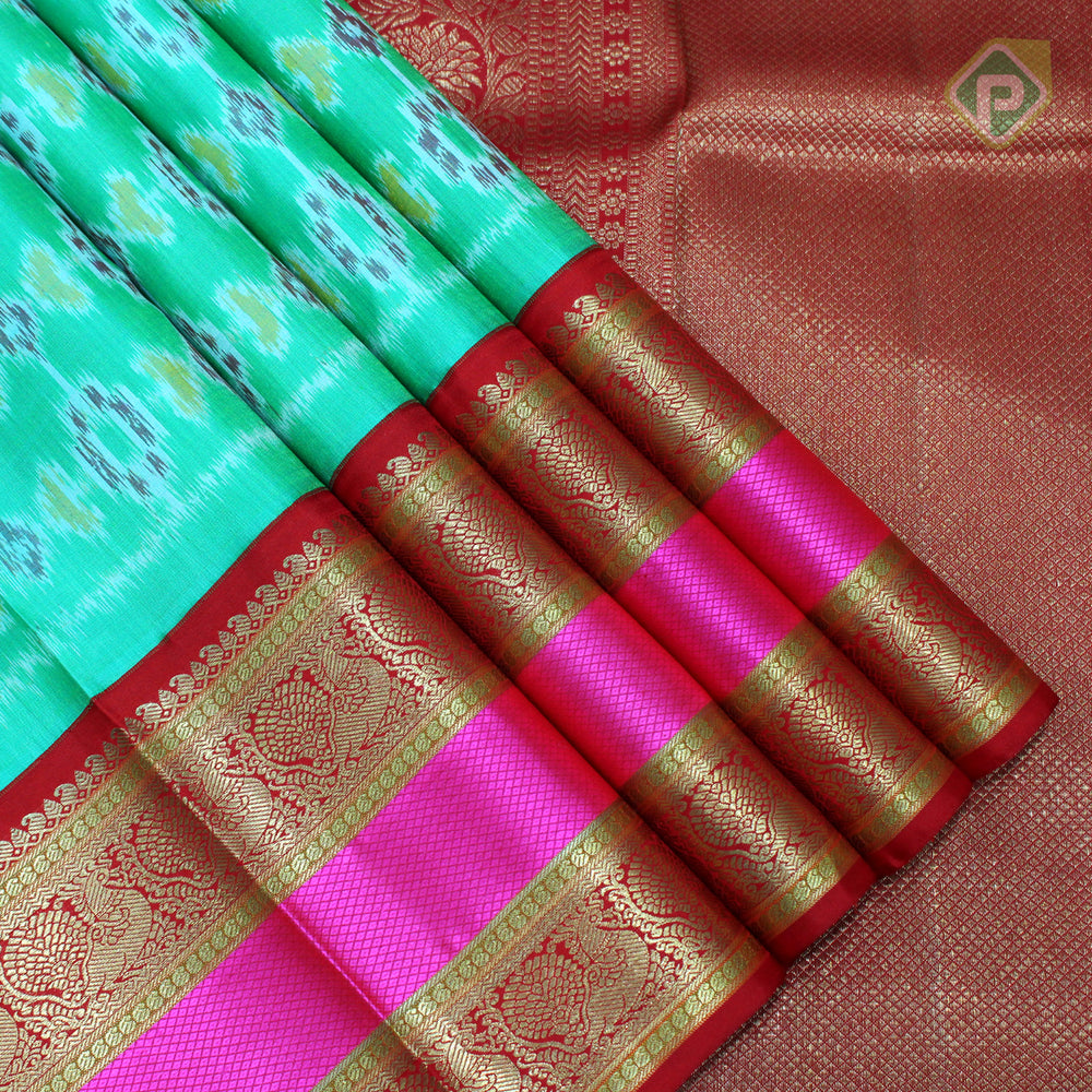 Jade Green With Red Colour Traditional Saree