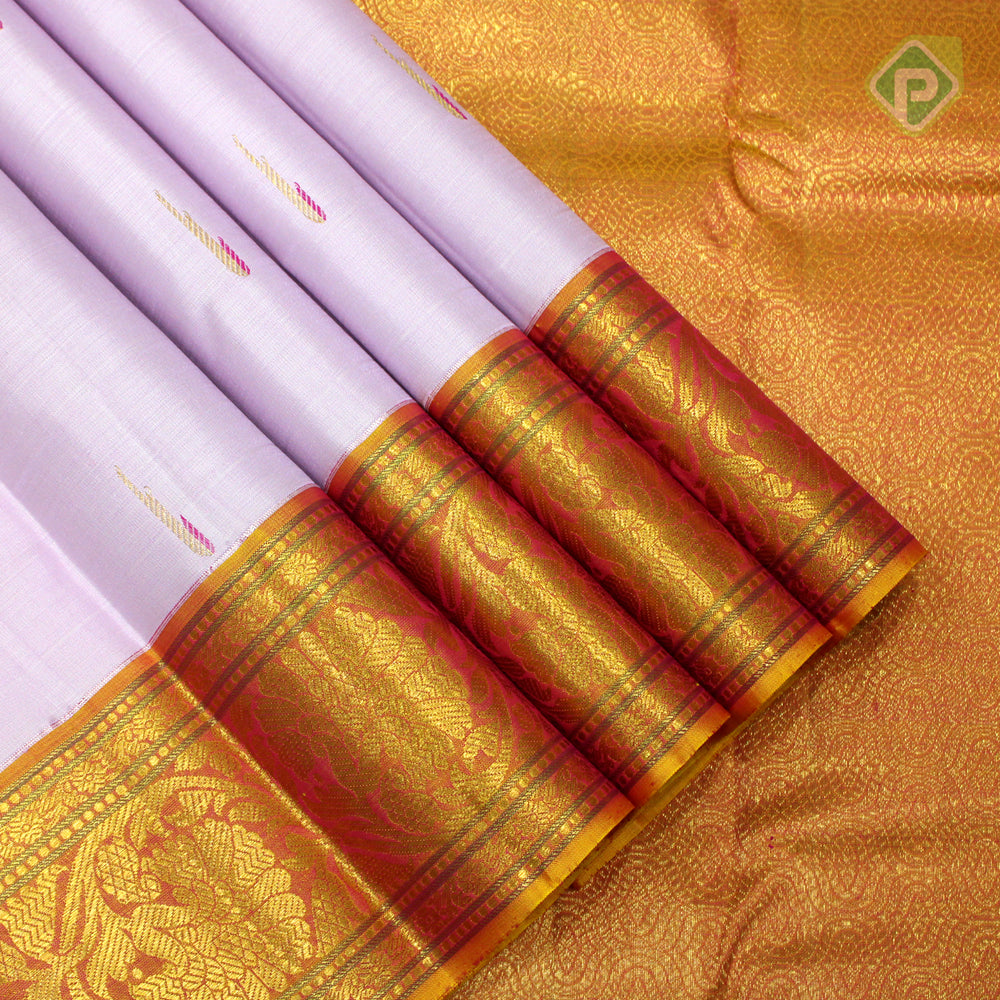 Lavender Pink With Mustered Yellow Colour Traditional Saree