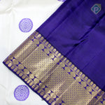 Half White With Navy Blue Colour Traditional Saree