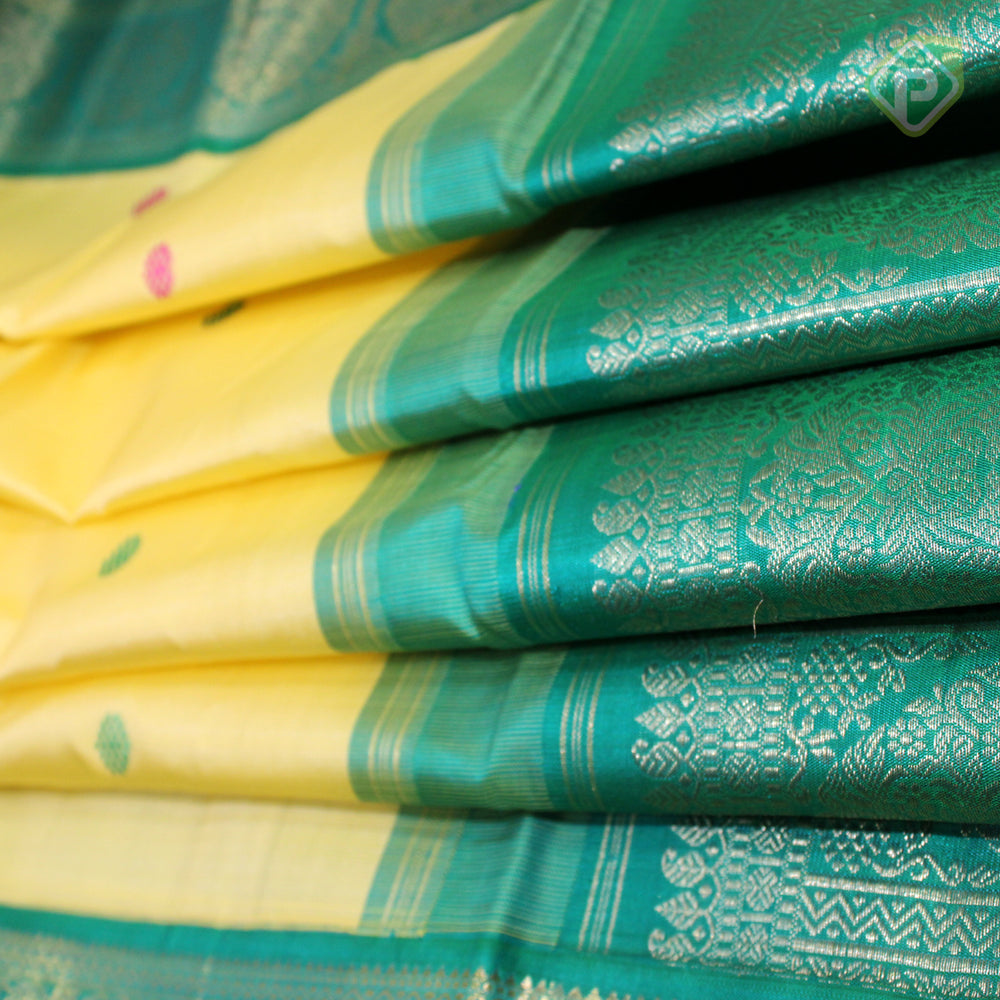 Lemon Yellow With Jungle Green Colour Traditional Saree