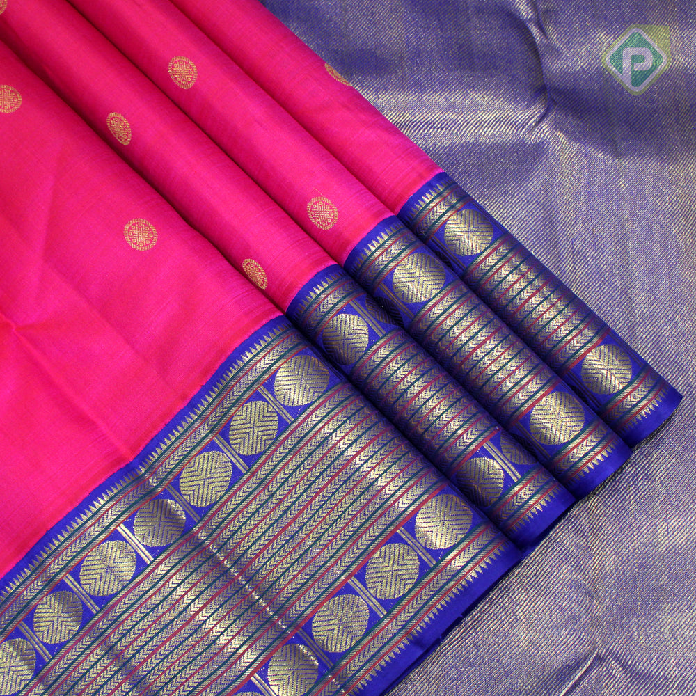Magenta Pink With Egyptian Blue Colour Traditional Saree