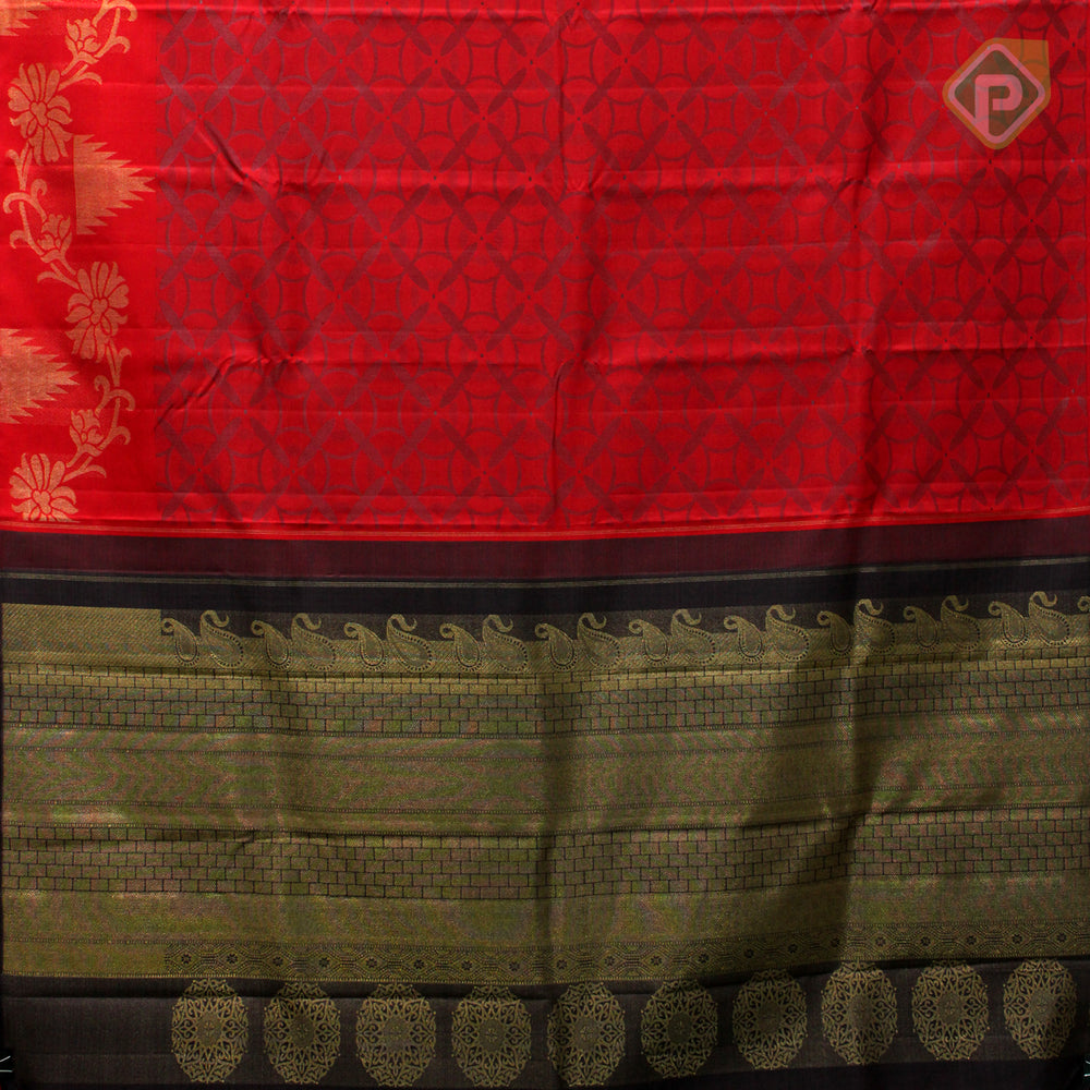 Chilly Red With Elephant Black Colour Fancy Silk Saree