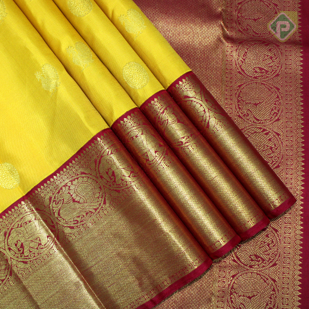 Mustered Yellow With Maroon Red Colour Traditional Saree