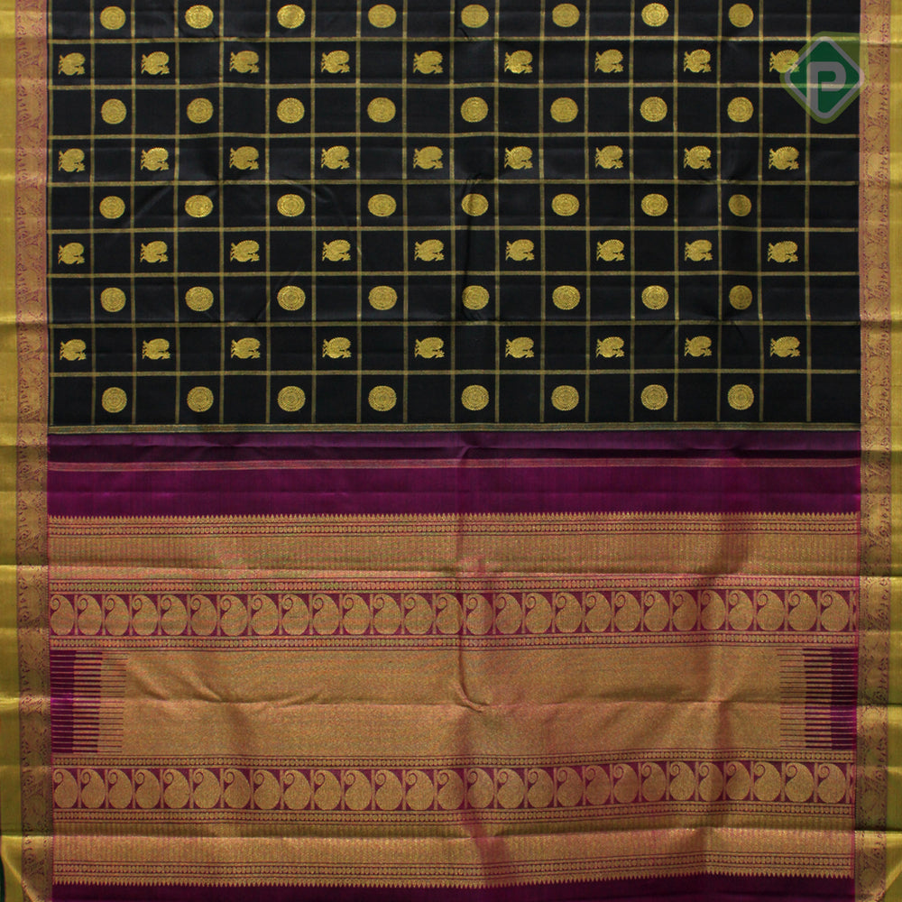 Black With Byzantine Violet Colour Traditional Saree