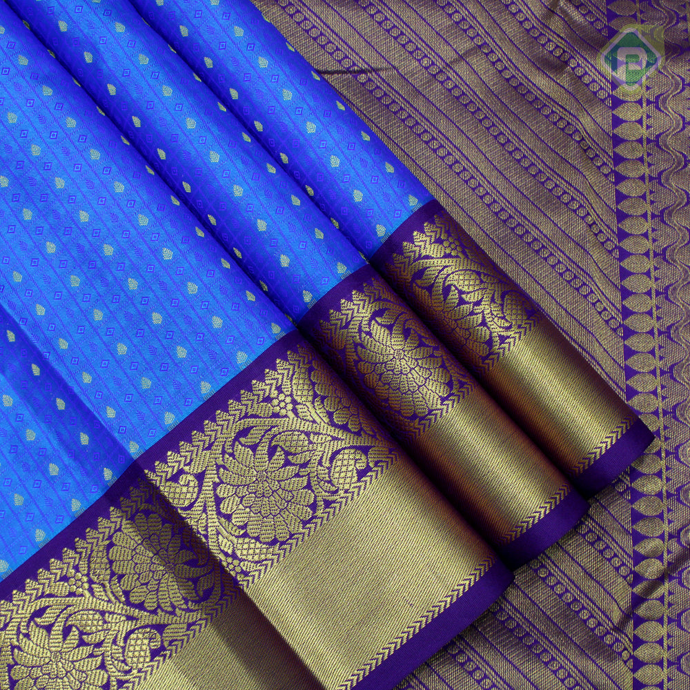 Sulphur Blue With Navy Blue Colour Embossed Silk Saree