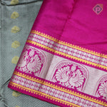 Elephant Gray With Peach Pink Colour Gift Silk Saree
