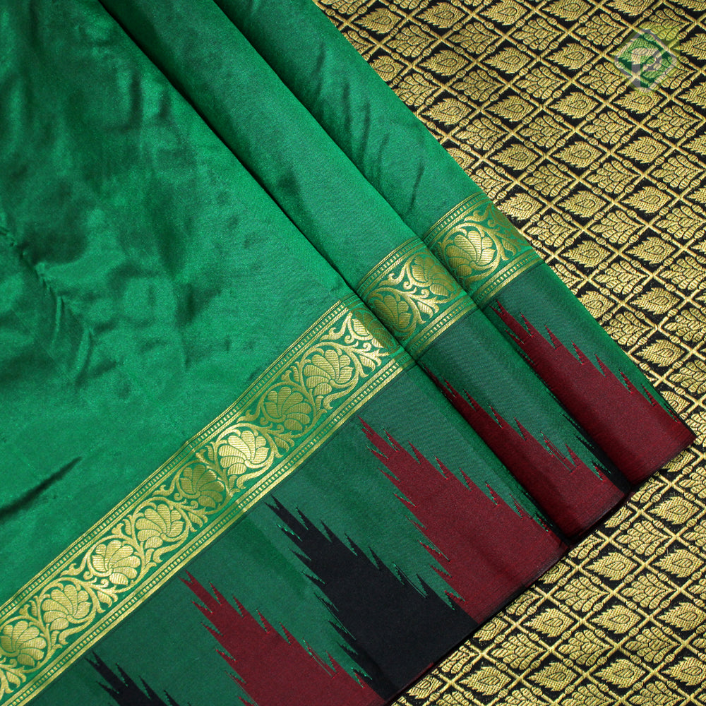 Forest Green Colour Gift Silk Saree