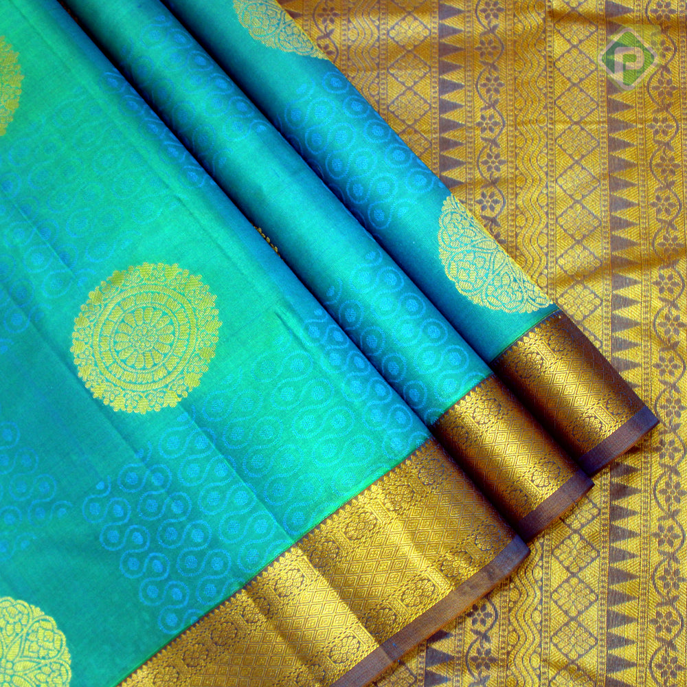 Dual Tone Sea Green With Olive Blue Colour Gift Silk Saree