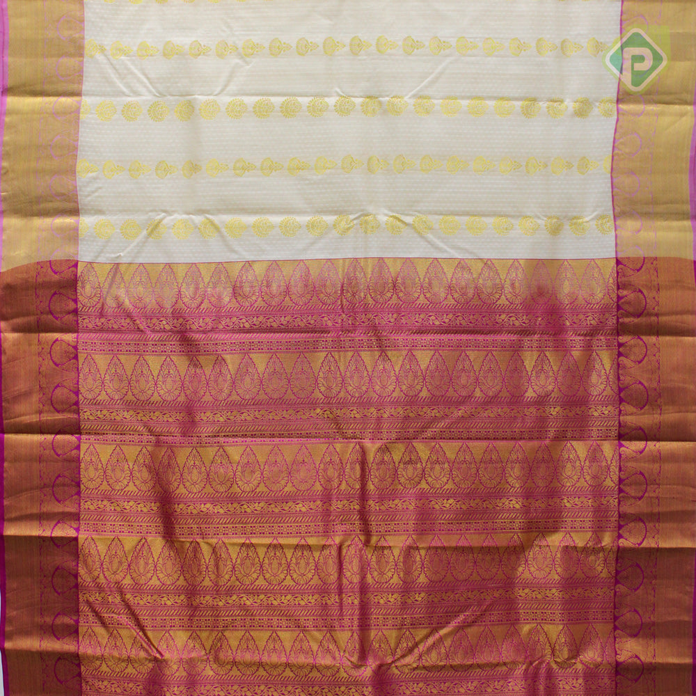 Cream With Peach Pink Colour Gift Silk Saree