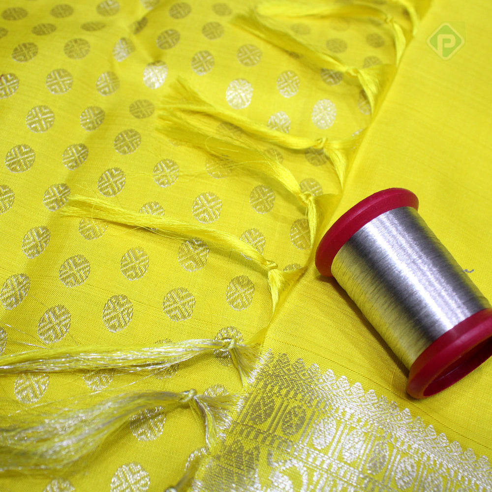 Lemon yellow Colour Silver Bridal Silk Saree