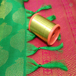 Shamrock Green and Pink Colour Bridal Silk Saree