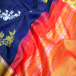 Navy Blue With Orange Colour Traditional Silk Saree
