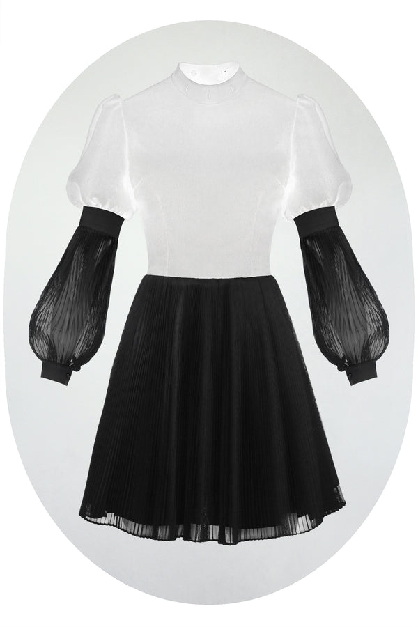 PLEATED CHIFFON SLEEVES & SKIRT [Convert]