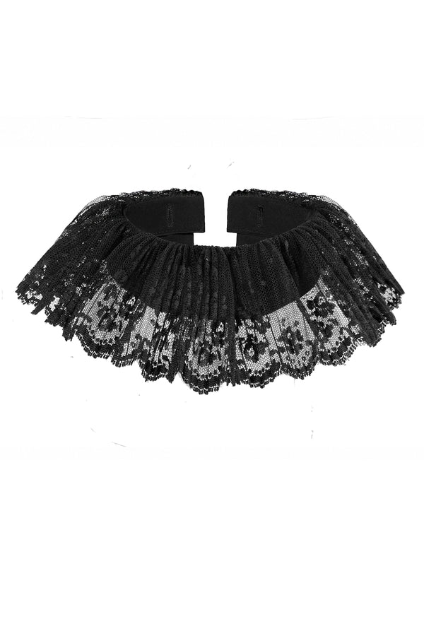 BLACK LACE (STAND DOWN) TRIM DETACHABLE COLLAR [CULT COLLECTION]