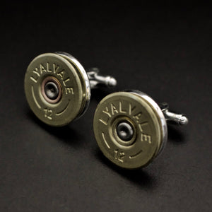 12 Bore Shotgun Cartridges Cufflinks (silver in colour back) - Coin Cufflinks