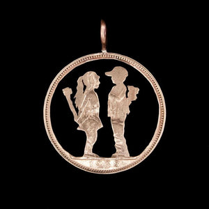 Banksy-inspired Boy Meets Girl - Coin Pendant