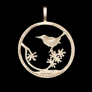 Bird on a Branch - Coin Pendant