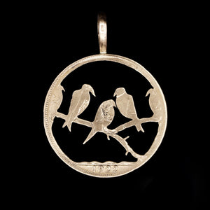 Birds in a Tree - Coin Pendant