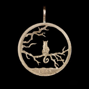 Cat Waiting in a Tree - Coin Pendant
