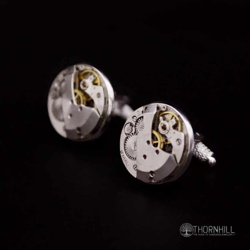 Watch mechanism Cufflinks (20mm round and silver in colour)