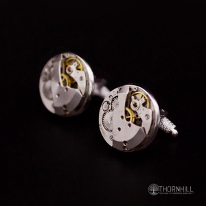 Watch mechanism Cufflinks (20mm round and silver in colour) - 17 jewel Clock part Cufflinks (large, round and silver in colour) £35.00 -