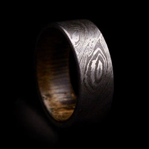 Damascus Steel Ring with Old Oak Insert